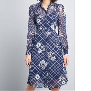 ModCloth Classic Captivation Shirtdress: Navy Blue
